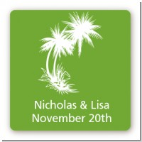 Palm Trees - Square Personalized Bridal Shower Sticker Labels