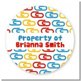 Paper Clips - Round Personalized School Sticker Labels