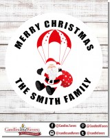 Parachute Santa Claus - Round Personalized Christmas Sticker Labels