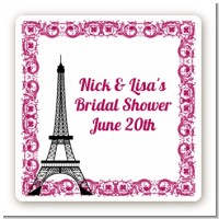 Paris - Square Personalized Bridal Shower Sticker Labels