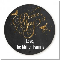 Peace and Joy - Round Personalized Christmas Sticker Labels