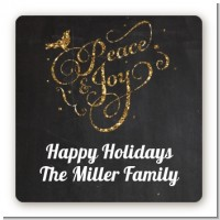 Peace and Joy - Square Personalized Christmas Sticker Labels
