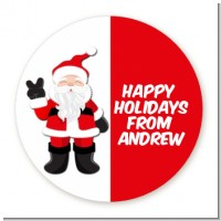 Peace Out Santa - Round Personalized Christmas Sticker Labels