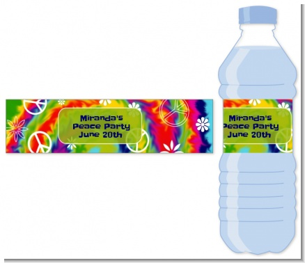 Peace Tie Dye - Personalized Birthday Party Water Bottle Labels