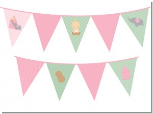 Our Little Peanut Girl - Baby Shower Themed Pennant Set
