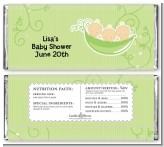 Triplets Three Peas in a Pod Caucasian - Personalized Baby Shower Candy Bar Wrappers