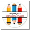 Pencils - Round Personalized School Sticker Labels thumbnail