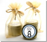 Penguin Blue - Baby Shower Gold Tin Candle Favors