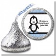 Penguin Blue - Hershey Kiss Baby Shower Sticker Labels thumbnail
