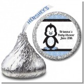 Penguin Blue - Hershey Kiss Baby Shower Sticker Labels