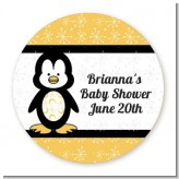 Penguin - Round Personalized Baby Shower Sticker Labels