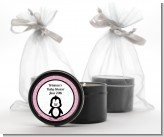 Penguin Pink - Baby Shower Black Candle Tin Favors