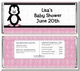 Penguin Pink - Personalized Baby Shower Candy Bar Wrappers