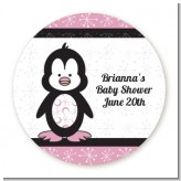 Penguin Pink - Round Personalized Baby Shower Sticker Labels