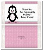 Penguin Pink - Personalized Popcorn Wrapper Baby Shower Favors