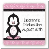 Penguin Pink - Square Personalized Baby Shower Sticker Labels