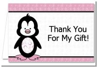 Penguin Pink - Baby Shower Thank You Cards
