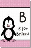 Penguin Pink - Personalized Baby Shower Nursery Wall Art