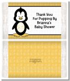 Penguin - Personalized Popcorn Wrapper Baby Shower Favors