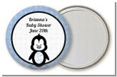 Penguin Blue - Personalized Baby Shower Pocket Mirror Favors