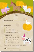 Petting Zoo - Birthday Party Fill In Thank You Cards