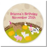 Petting Zoo - Round Personalized Birthday Party Sticker Labels