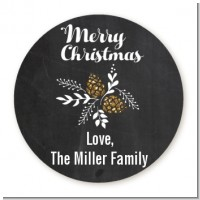 Pine Cones - Round Personalized Christmas Sticker Labels