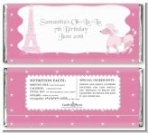 Pink Poodle in Paris - Personalized Birthday Party Candy Bar Wrappers