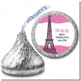 Pink Poodle in Paris - Hershey Kiss Birthday Party Sticker Labels