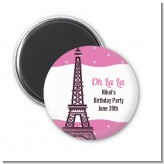 Pink Poodle in Paris - Personalized Birthday Party Magnet Favors
