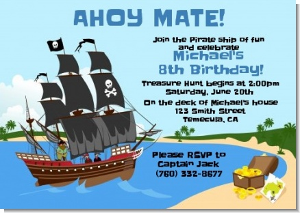 Pirate Ship - Birthday Party Invitations