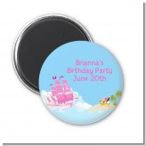 Pirate Ship Girl - Personalized Birthday Party Magnet Favors