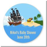Pirate Ship - Round Personalized Baby Shower Sticker Labels