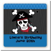Pirate Skull - Square Personalized Birthday Party Sticker Labels
