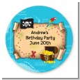 Pirate Treasure Map - Round Personalized Birthday Party Sticker Labels thumbnail