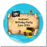 Pirate Treasure Map - Round Personalized Birthday Party Sticker Labels