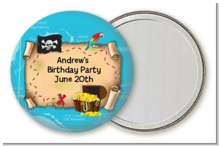 Pirate Treasure Map - Personalized Birthday Party Pocket Mirror Favors