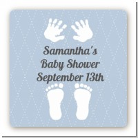 Baby Feet Pitter Patter Blue - Square Personalized Baby Shower Sticker Labels