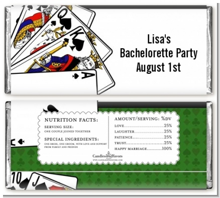 Casino Night Royal Flush - Personalized Birthday Party Candy Bar Wrappers