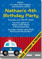Police Car - Birthday Party Invitations