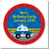 Police Car - Round Personalized Birthday Party Sticker Labels