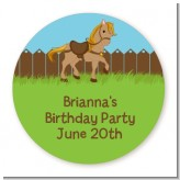 Pony Brown - Round Personalized Birthday Party Sticker Labels