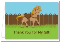 Pony Brown - Birthday Party Thank You Cards