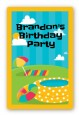 Pool Party - Custom Large Rectangle Birthday Party Sticker/Labels thumbnail