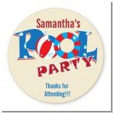 Poolside Pool Party - Round Personalized Birthday Party Sticker Labels