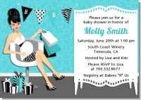 Posh Mom To Be Blue - Baby Shower Invitations