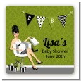 Posh Mom To Be Neutral - Square Personalized Baby Shower Sticker Labels thumbnail