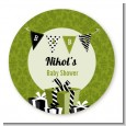 Posh Mom To Be Neutral - Round Personalized Baby Shower Sticker Labels thumbnail
