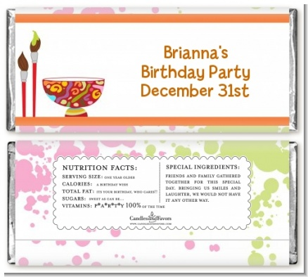 Pottery Painting - Personalized Birthday Party Candy Bar Wrappers