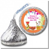 Pottery Painting - Hershey Kiss Birthday Party Sticker Labels